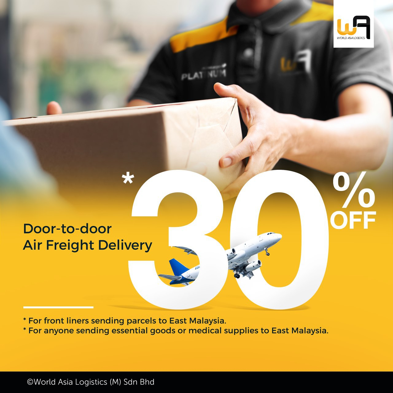 30% off air freight to east malaysia.